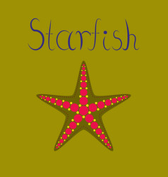 Flat on background tropical starfish vector