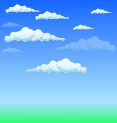 Fluffy white clouds in the sky vector image