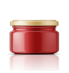 Glass jar with tomato sauce vector