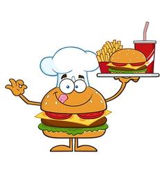 Hamburger chef cartoon vector