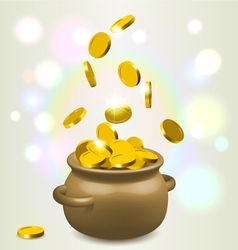Lucky bowl of gold vector image vector image