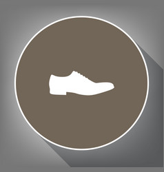 men shoes sign white icon on brown circle vector image