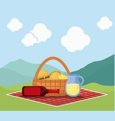 Picnic basket with snack design vector