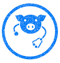 Pig veterinary rounded grainy icon vector