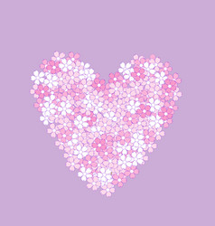 pink heart made of flowers vector image
