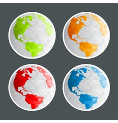 Pixel Planet Earth Icons vector image vector image