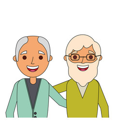 Portrait smiling older men embraced characters vector