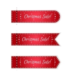 Set of three christmas tags festive red with vector