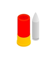 Shotgun shell and bullet isometric 3d icon vector