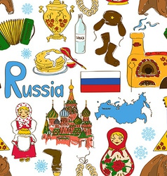 Sketch Russian seamless pattern vector image