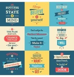 Success quotes colored isolated posters vector