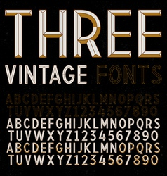 Three retro fonts gold vintage alphabets vector