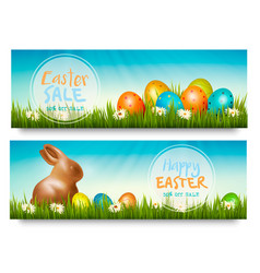 Two easter sale banners with colorful ggs in vector