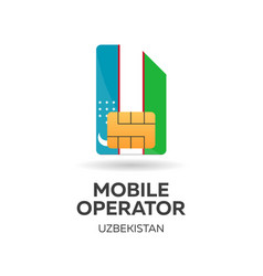Uzbekistan mobile operator sim card with flag vector