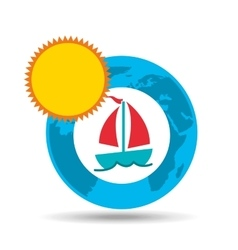 Vacation around world sunny sailboat vector