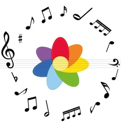 Music notes with colorful flower vector