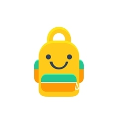 School backpack primitive icon with smiley face vector