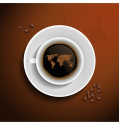 World map in coffee cup vector