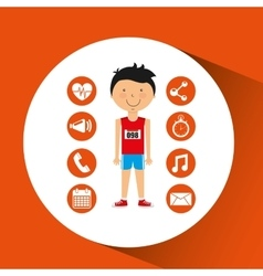 Sportsman athlete young apps icons vector