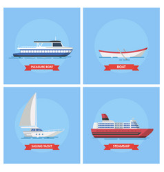 Icons marine ships and boats in a flat style vector