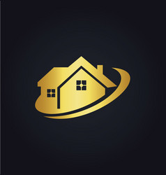 House business realty gold logo vector