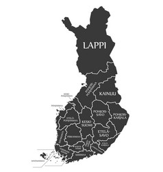 Finland map labelled black in finnish language vector