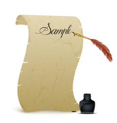 ancient parchment with feather and inkwell vector image