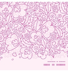 Pink flowers lineart horizontal frame seamless vector