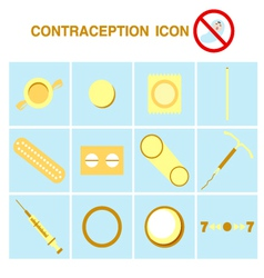 Contraception icons set birth control vector