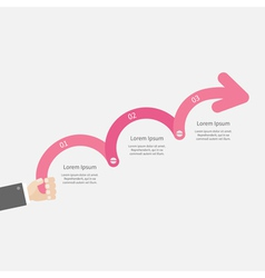 Man hand holding three step pink upwards arrow vector