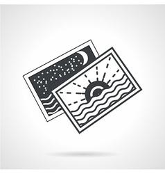 Seascape cards black line icon vector image