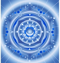 Abstract blue pattern mandala of vishuddha chakra vector