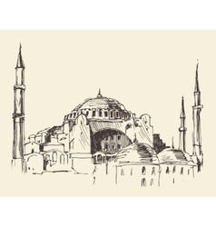 Istanbul turkey hagia sophia engraved sketch vector