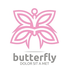 Logo butterfly leaf pink insect spring symbol vector