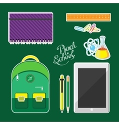 Set of school supplies and computer tablet vector