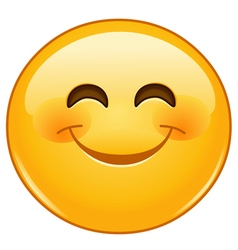 Smiling emoticon with smiling eyes vector