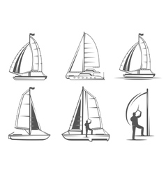 Set catamaran logos and badges vector