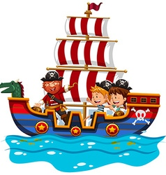 Children riding on viking ship at sea vector