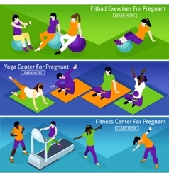 Pregnant Women Fitness Banners Set vector image
