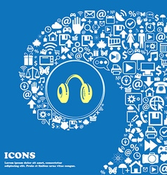 Headsets sign symbol nice set of beautiful icons vector
