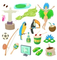 Brazil icons set cartoon style vector image
