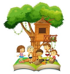 Book of children and treehouse vector image vector image