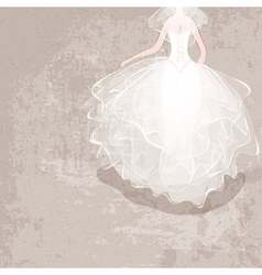 Bride in wedding dress on grungy background vector