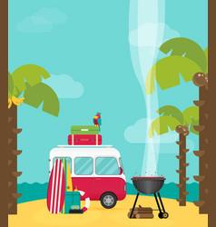 caravan trailer camping in flat style vector image vector image