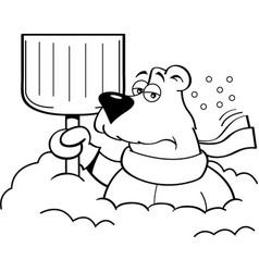 cartoon polar bear holding a snow shovel vector image vector image