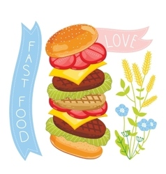 Cheeseburger ingredients on white background vector image vector image