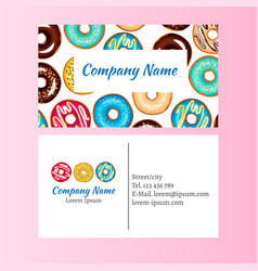 colored donut glaze business card vector image vector image