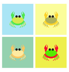crab in cartoon style seafood product design set vector image vector image