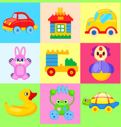 Funny colorful toys for little kids vector