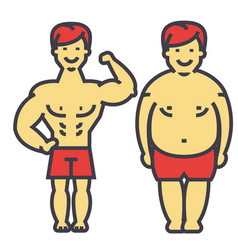 Guy losing weight fat guy before and after diet vector